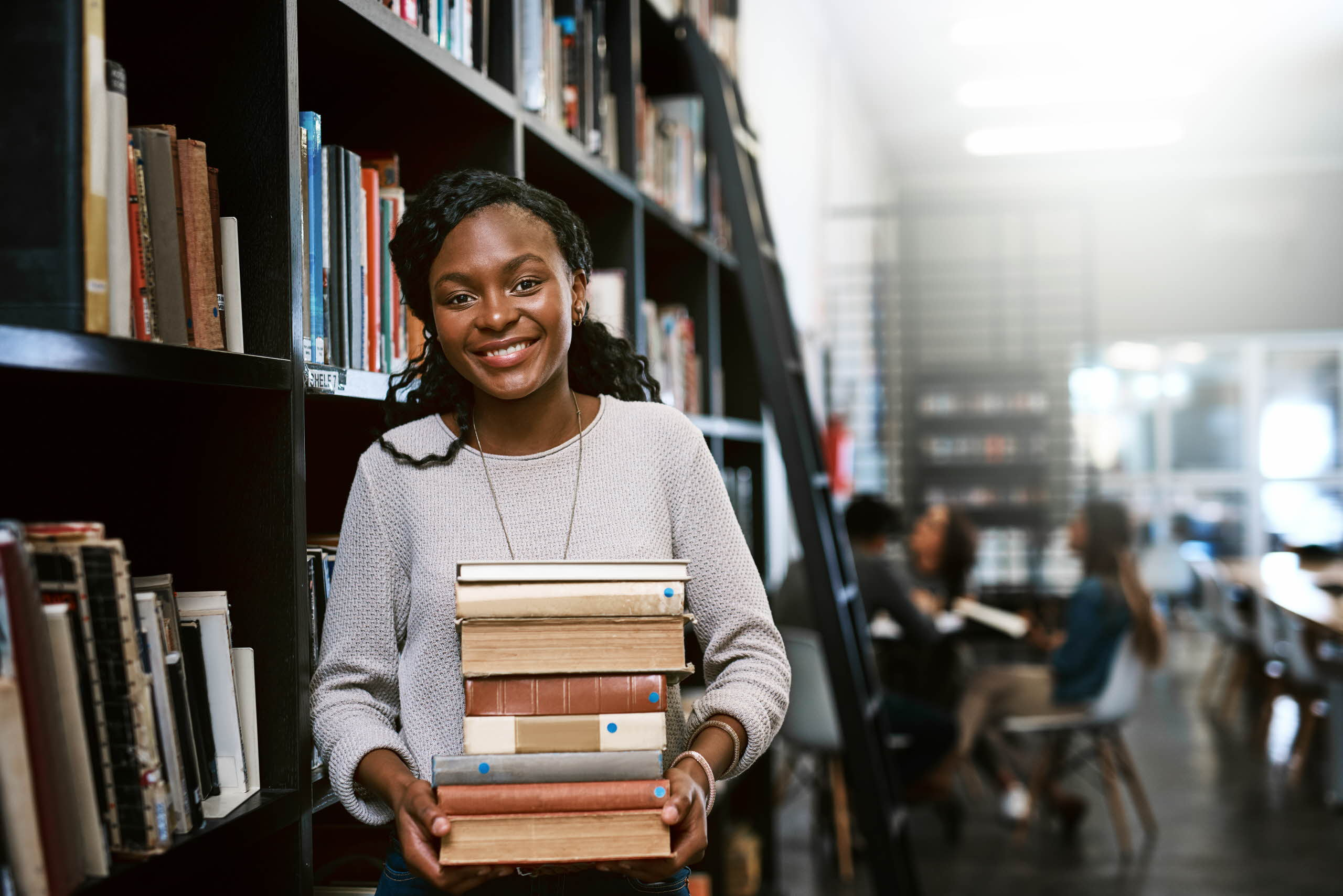 Student at a library
