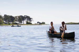 Students paddle in Kalmarsund
